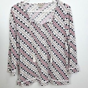 Lucky Brand Blouse Tassels Size M Tunic V Neck